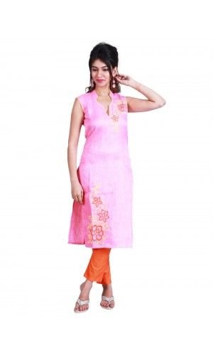 Flawless look will make you fall in love with this bright and trendy Pink Kurti. Designed with an eye-catching embroidery, this attractive Kurti will prove a great addition to your ethnic wear collection.