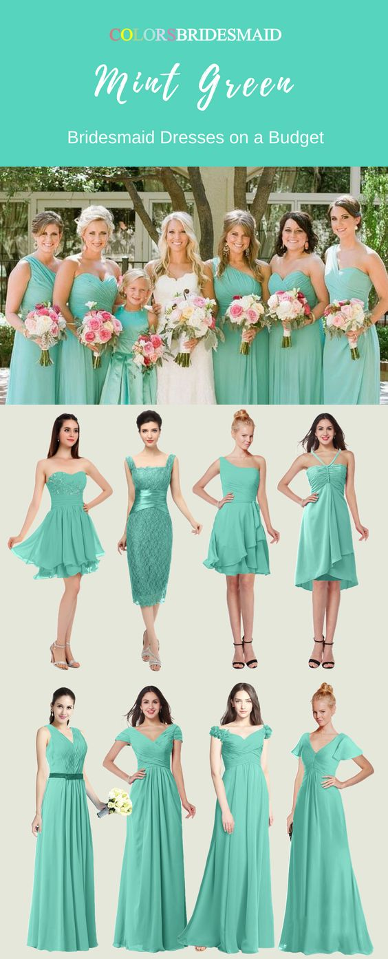 These mint green color short and long bridesmaid dresses are made of high quality chiffon fabric and can be custom made to all sizes. They are the most popular styles including v-neck,sweetheart, asymmetric,halter etc.They are most sold under 100. Where to buy such cheap bridesmaid dresses except colorsbridesmaid.com?