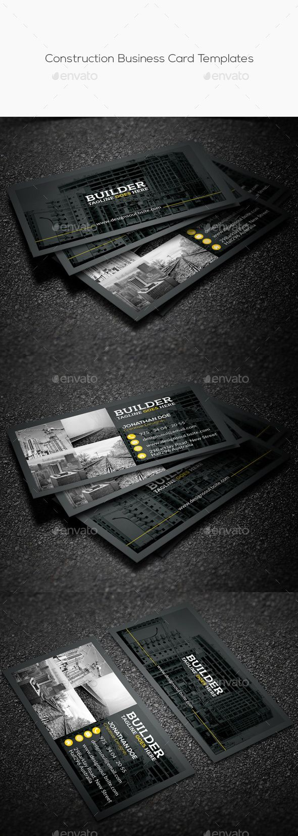 Construction Business Card Template PSD #design Download: http://graphicriver.net/item/construction-business-card-templates/14328498?ref=ksioks