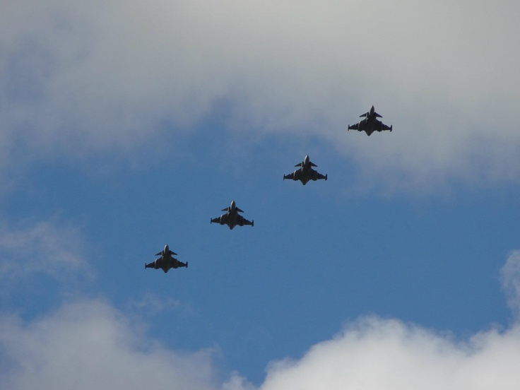 Formation of 4 Saab JAS 39 Gripen's flyover before landing at Leeuwarden Air Force Base during the massive NATO air live exercise Frisian Flag 2012. See http://www.youtube.com/watch?v=fNXhrYNv_xM for a spectacular video impression of this huge exercise which is comparable to Red Flag and Maple Flag!