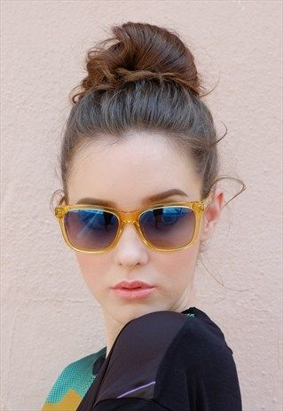 Transparent yellow clear acetate sunglasses