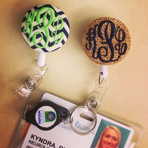 monogrammed ID badge clip. i need this.