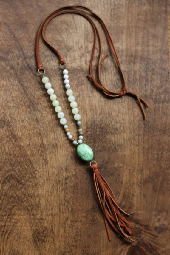 Boho, beaded necklace with camel tassel and green stone pendant