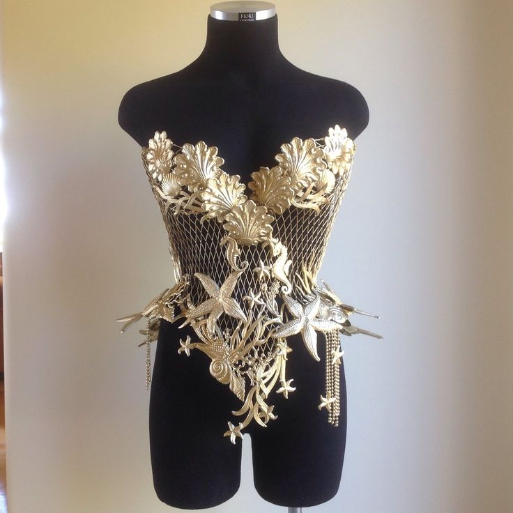 """One of a kind Mermaid Steel Corset embelshed with Seahorses , Starfish & Seashells """"SHS THE GODDESS OF THE SEA"""".... Seven Seas Goddes..."""