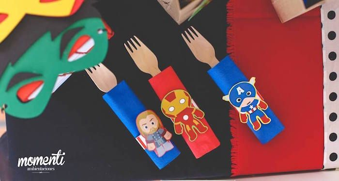Utensil wraps from Modern Avengers Birthday Party at Kara's Party Ideas. See the whole party at karaspartyideas.com!