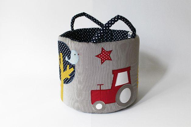 Aufbewahrungsboxen - Ø35 Maxi Spielzeug-Tasche,Aufbewahrungsbox,Traktor - ein Designerstück von baby-lal bei DaWanda