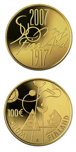 100 euro: Independent Finland 90 years.Country: Finland Mintage year: 2007 Face value: 100 euro Diameter: 22.00 mm Weight: 5.65 g Alloy: Gold Quality: Proof Mintage: 9,000 pc proof Design: Reijo Paavilainen