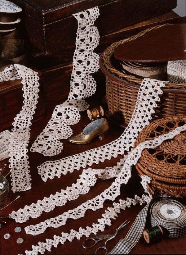 Edgings add a touch of lacy class to everything. These are great projects to add to table cloths, clothing, lamps and much more! The instructions introduce a new top-to-bottom method instead of the tr
