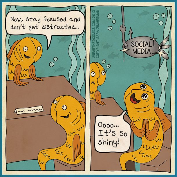 Social media cartoons and marketing comics about being distracted