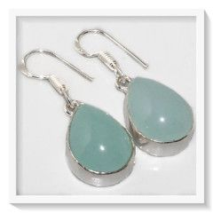 ***JUST LOVE THIS COLOUR***  BLUE CHALCEDONY DANGLE .925 SILVER EARRINGS