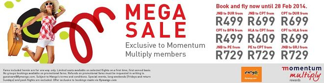 Momentum Multiply flight special by Mango Airlines