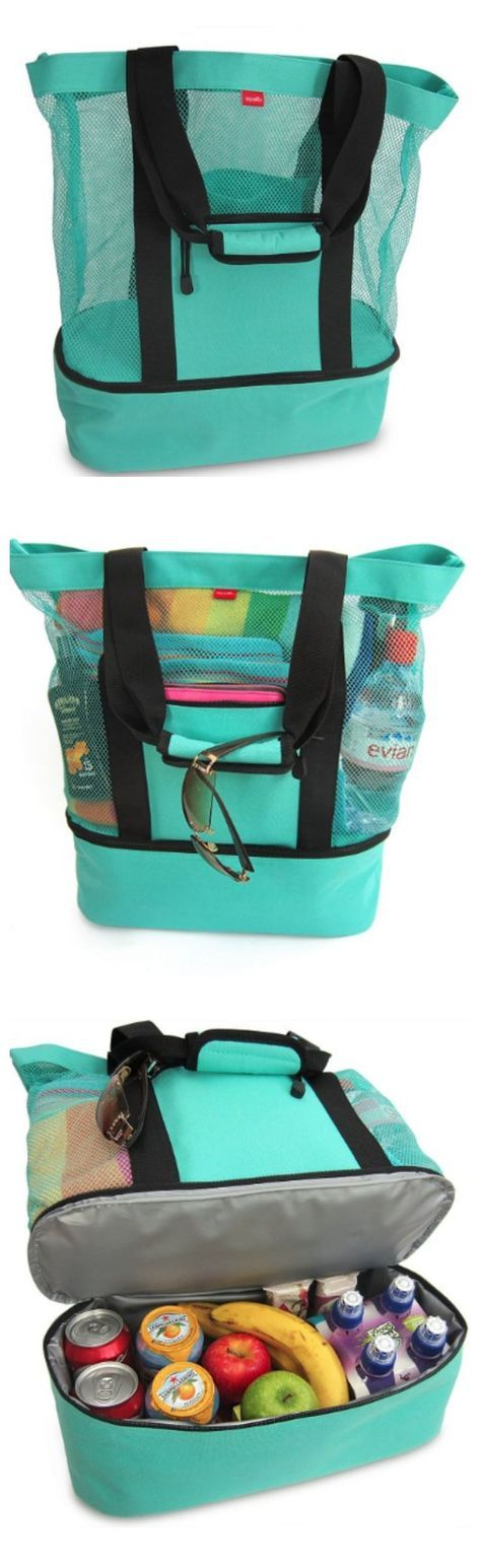 Umm... what?! BEST BEACH BAG EVER! Mesh tote to keep the sand out and carry your towel, sand toys, phone, etc. PLUS an insulated cooler for your snacks and drinks!! This is happening before our next family beach trip for sure!