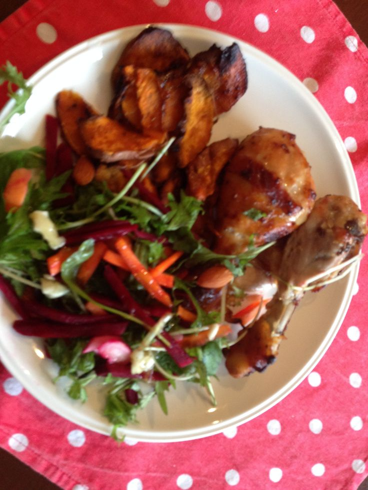 Chicken with sticky honey glaze Food mag 68 pg 119 with kumara chips & power boost salad Taste mag 84 pg 77. Gluten/dairy free