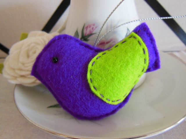 Purple Felt Bird Dec | Eme Creations | madeit.com.au