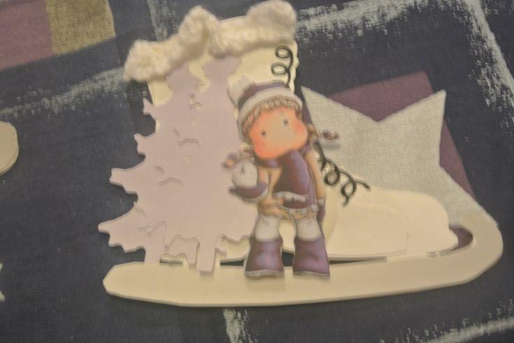 kerstkaart 2014/2015 schaats van silhouette cameo, boordje gehaakt, kerstboom marianne design,