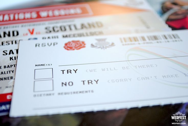 rugby wedding ticket invite http://www.wedfest.co/england-vs-scotland-rugby-ticket-wedding-invites/