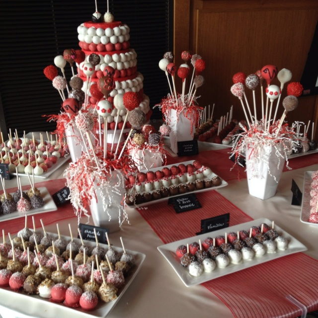 great idea instead of spending lots of money on a wedding cake !!! use caaaake pops :)