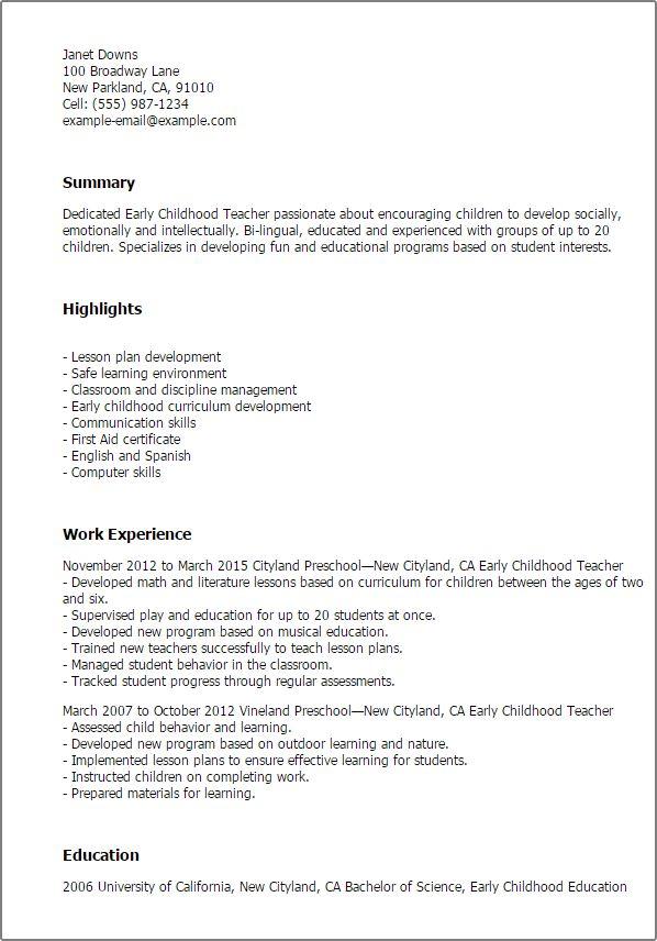 resume templates  early childhood teacher