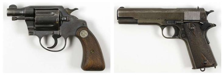 This pair of undated photos provided  by RR Auction of Amherst, N.H., show firearms once owned by outlaws and lovers Clyde Barrow and Bonnie Parker. Parker's Colt .38 snub-nose detective special, left, was found taped to her inside thigh with white medical tape after she was shot dead. Barrow's Colt .45, right, was recovered postmortem from his waistband. The guns, Bonnie's cosmetic case, Clyde's gold pocket watch and a letter Clyde wrote to his brother while on the run were among the duo's…
