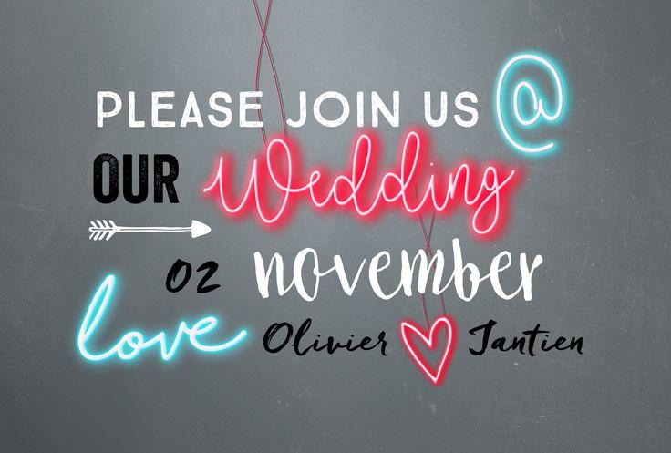 Hippe en stijlvolle trouwkaart voor je bruiloft met neonletters en neon hartje. Feestelijk én origineel!