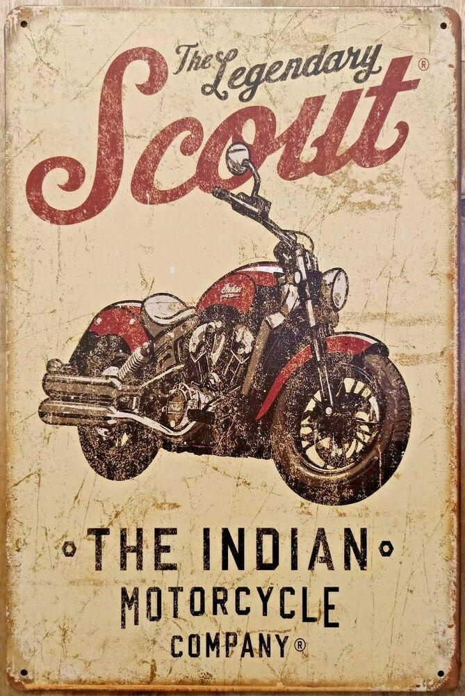 Bar /& Man Cave INDIAN MOTORCYCLE Rustic Metal Tin Sign Vintage Rustic Garage