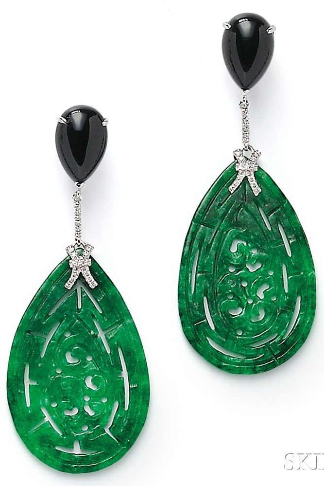 18kt White Gold, Jade, Onyx, and Diamond Earpendants, each carved jade drop suspended from a pear-shape cabochon onyx, diamond melee accents, lg. 2 3/4 in.