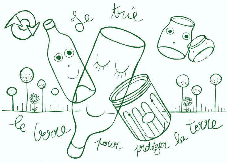 Coloriage tri recyclage du verre bouteilles pots bocaux pour protéger la terre