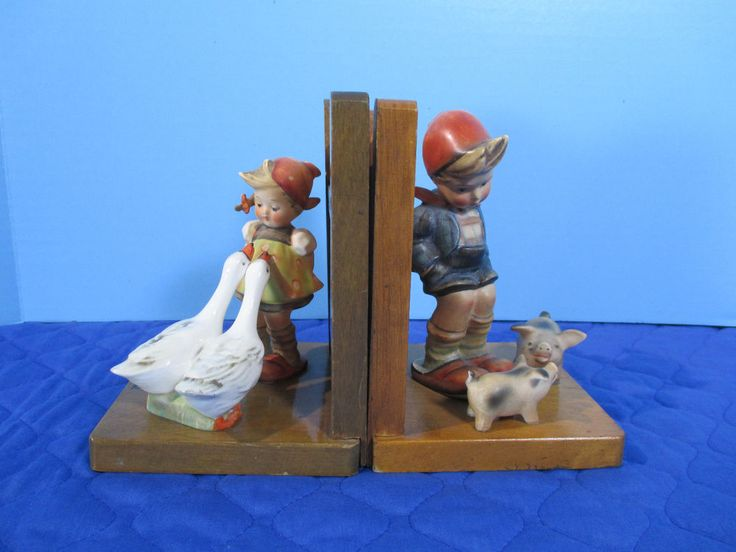 Goebel Hummel Bookends Goode Girl Farm Boy Pigs Figurine TMK2 Set of 2 Vtg 1950s #Goebel