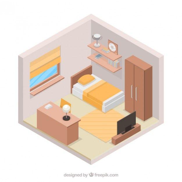 Bedroom in 3d style Free Vector