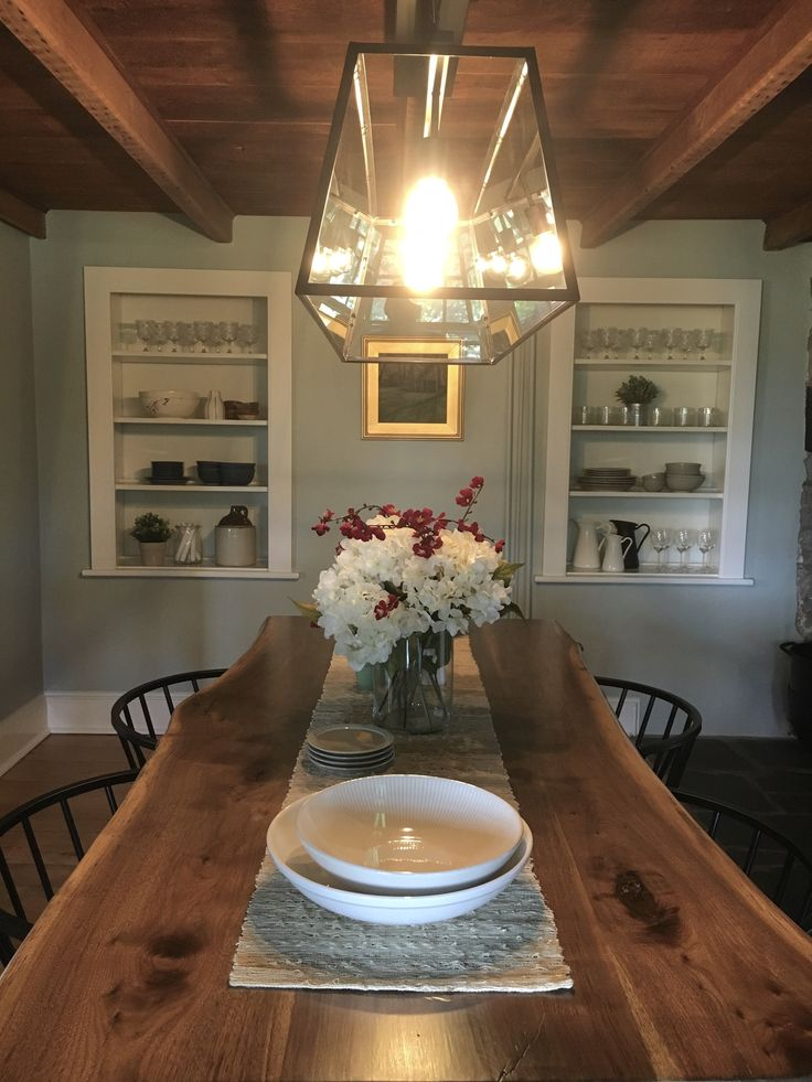 Custom walnut live edge dining table.  Stone House Revival - Season two.