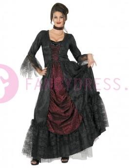 Dit luxe erfenis vampier gravin kostuum bestaat uit:  Een Gothic korset jurk.  Een lang kanten gewaad, met lange mouwen en manchetten.  Een lange golvende rok met een zwarte kanten rand met blad design.  Een onderrok heeft een elastiek in de taille.