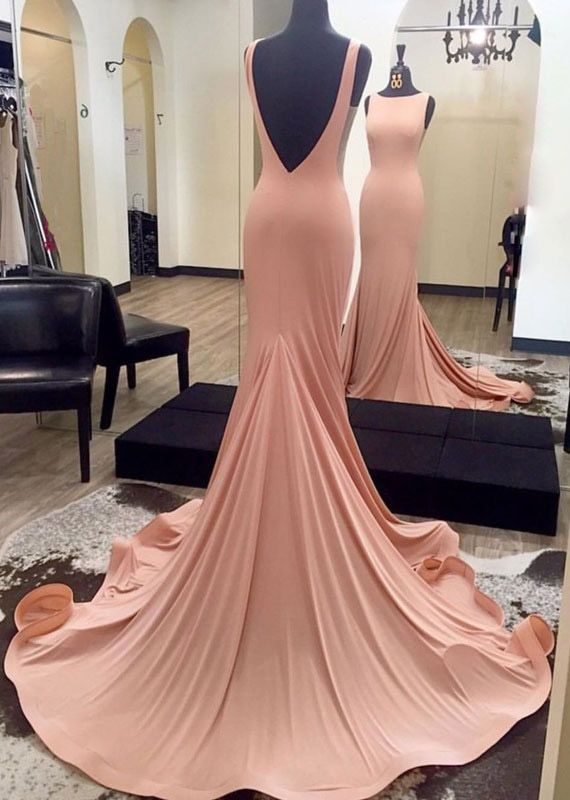 New Arrival Mermaid Open Back Sweep Train Pink Long prom/Evening Dress