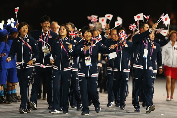 Japan athletes parade during the Closing Ceremony on Day 16 of the 2012 Olympic Games at Olympic Stadium on August 12, 2012 in London, England. (Photo by Scott Heavey/Getty Images)