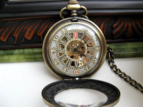 Premium Victorian Engravable Bronze Mechanical Pocket Watch, Watch Chain - Groomsmen - Men - Steampunk - Watch - Item MPW248