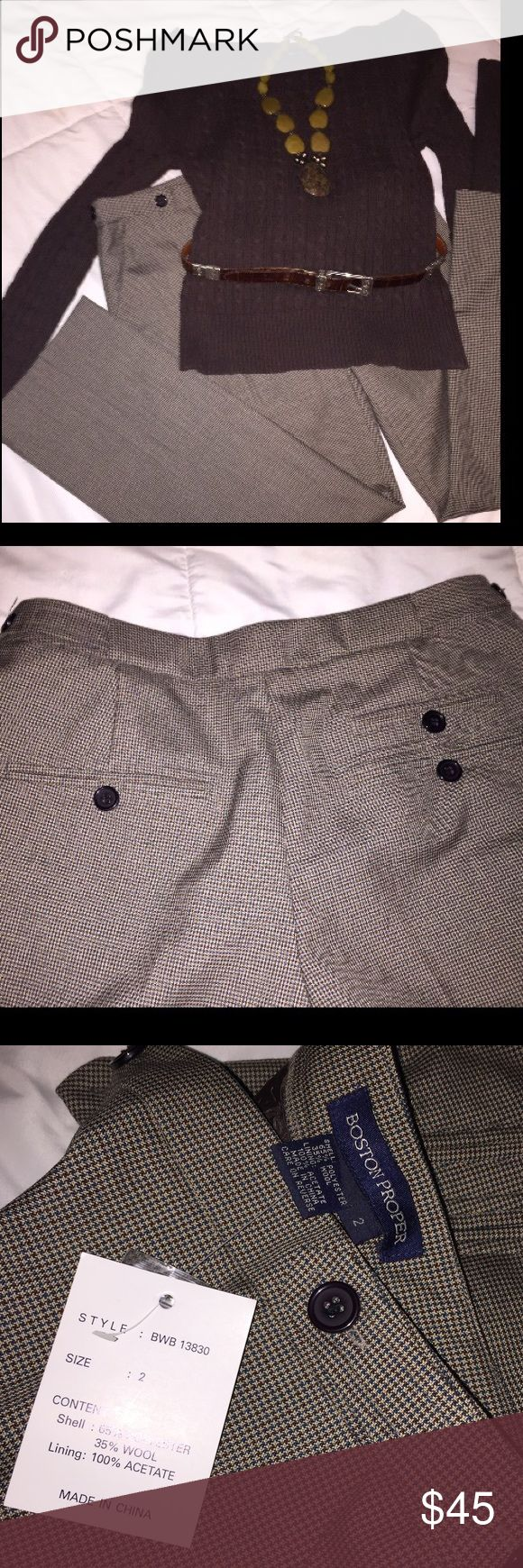 Boston Proper crop slacks and Gap sweater Boston Proper checked tanish/brown crop slacks, size 2. Gap cable sweater (light not heavy) XS, I am a 32C-D and it fits nicely. It's a nice work outfit or just a chilly day outfit! It's very classy and very classic! Bundle them and save! Boston Proper Pants Ankle & Cropped