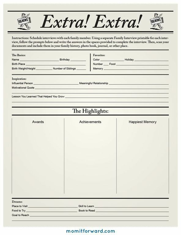 Extra! Extra! ~ Here is a fun printable to record facts about all of your family members. This additional information can really add more life to genealogical profiles. ~ MomItForward.com