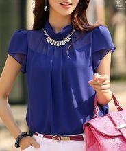 New 2014 grátis frete mulheres verão lazer top chiffon blusa camisa de renda senhora base pura manga curta soltas com colar S ~ XXL(China (Mainland))