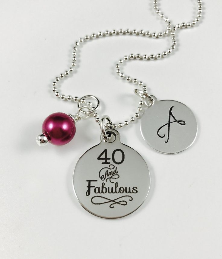 40 and Fabulous!  - Laser Engraved Charm Necklace - Stainless Steel Pendant w/ your color choice of pearl and Hand Stamped Initial Charm by ChutneyBlakeDesigns on Etsy