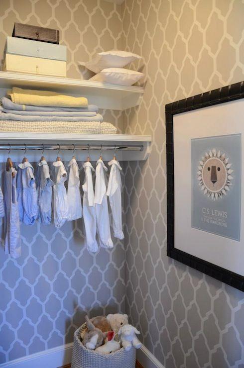 Finnian's Moon Interiors - nurseries - nursery closet, twin nursery closet, twin nursery design, moorish tile wallpaper, moroccan wallpaper,...