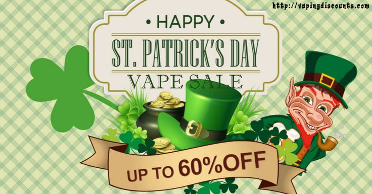 March 15, 2016 St Patricks Day Vape Sale  Save up to 60% during the St Patricks Day Vape Sale The theme is green and everything on sale will save you some green. There is the VapeCige VTBox200 200W TC VV / VW Mod for only $120.06 with free shipping. Looking for a new tank, how about the Original …