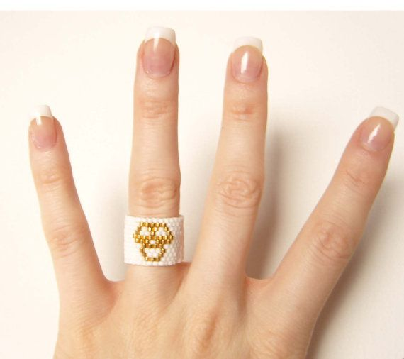 Gold Skull Ring Seed Bead Ring 24K Gold Plated by JewelleryByJora