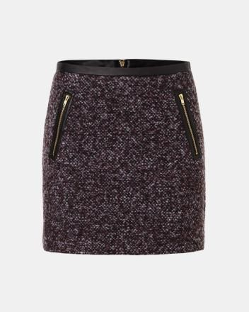 Tweed and faux-leather mini skirt