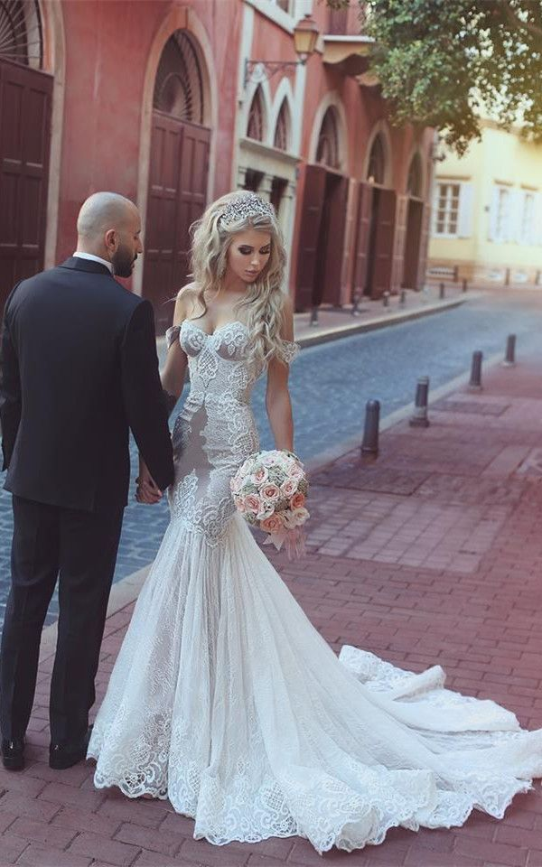 Off-the-Shoulder Lace Mermaid Wedding Dress From 27dress.com. Extra Coupons. #onlinedress