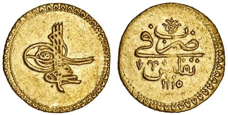 Gold Coin in Georgia, Tiflis, 1703, Sultan Ahmed III, Cedid Zincirli, 3.44gr (Osmanlı Tiflis Parası)