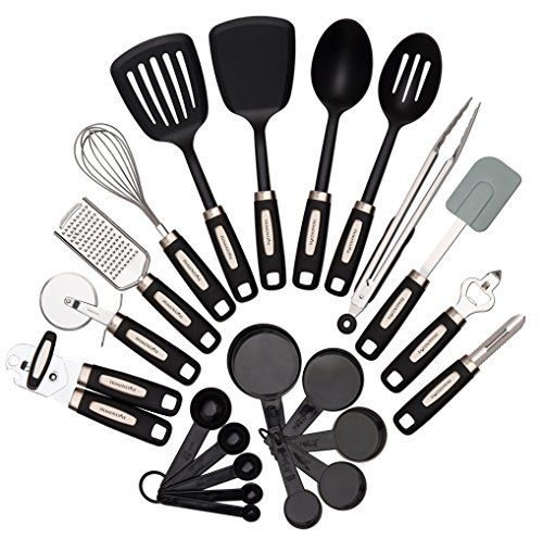 22-Piece Kitchen Utensils Set- 8 Stainless Steel Cooking Tools, 4 Nylon Utensils & Pp Cups / Spoons, 2015 Amazon Top Rated Flatware #Kitchen