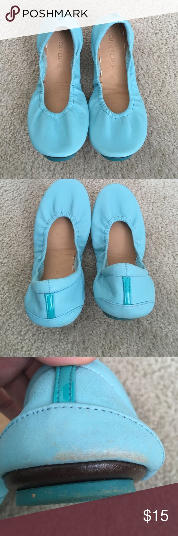 Knock-off Tieks in beautiful blue Great color blue and only worn once. Just too tight after pregnancy. Run a bit small (I recommend for someone who is a 7.5). Some color rubbed off on the back (see last picture). buer plus Shoes Flats & Loafers