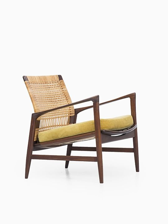 Ib Kofod-Larsen; Afromosia and cane 'Åre' Easy Chair for OPE, 1950s. Via Studio Schalling.