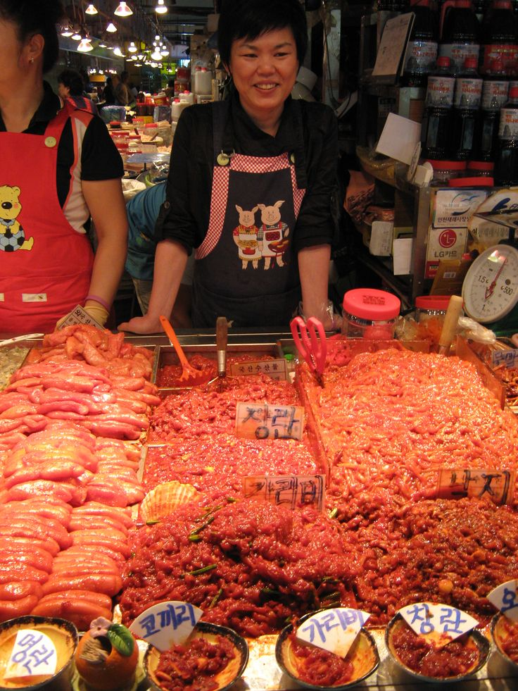 I think these were all different types of fish intestines in chilli, on Incheon Fish Market