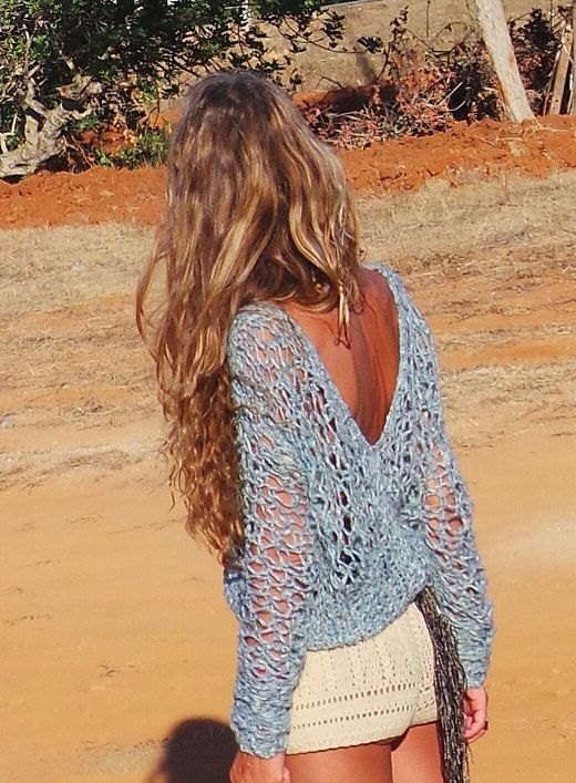 womens blue sweater blue v neck boho loose knit sweater por ileaiye