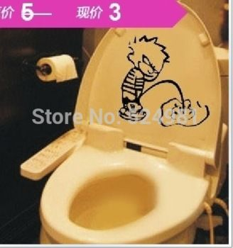 2014 новый пи мальчик туалет наклейка ванная комната обои мультфильм дома на съемный DIY